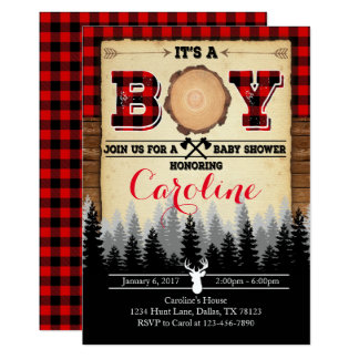 Flannel Lumberjack Baby Shower Invitation Invite