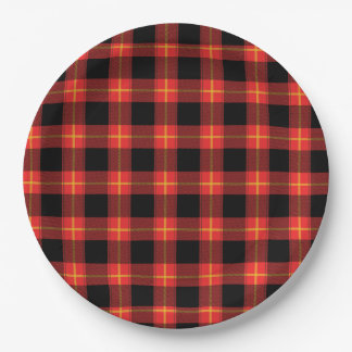 Flannel Red Buffalo Plaid Pattern Fall Autumn Art 9 Inch Paper Plate