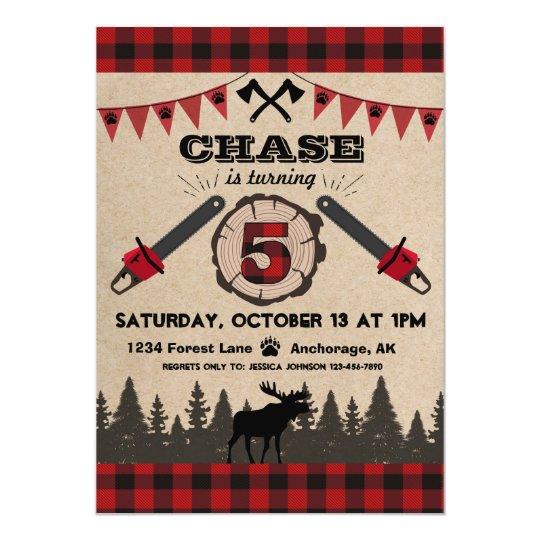Flannel Wood Stump Forest Wilderness Birthday Card