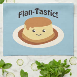 Flantastic! Cute flan Tea Towel