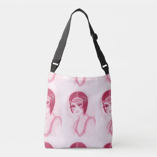 Flapper Girl In Red Crossbody Bag