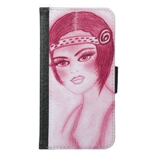 Flapper Girl In Red Samsung Galaxy S6 Wallet Case