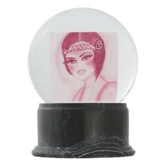 Flapper Girl In Red Snow Globes