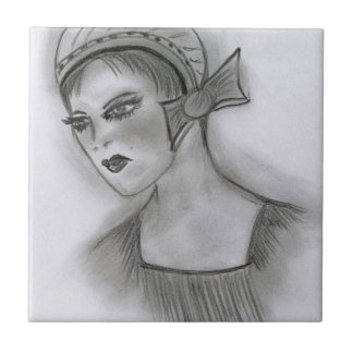 Flapper Girl With Bow Tile