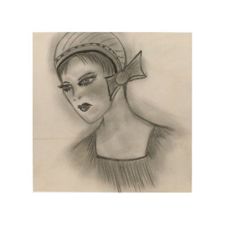 Flapper Girl With Bow Wood Wall Art