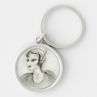 Flapper In Feathers Silver-Colored Round Key Ring