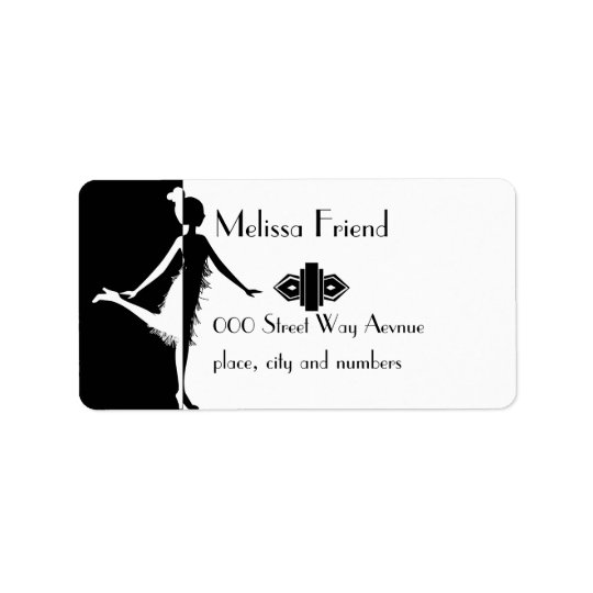 Flapper Silhouette Address Label