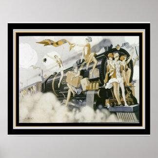 """Flappers Take The Train"" Art Deco Print 16 x 20"