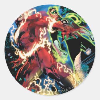Flash and Green Lantern Panel Round Sticker