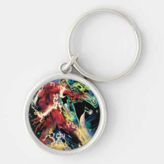 Flash and Green Lantern Panel Silver-Colored Round Key Ring