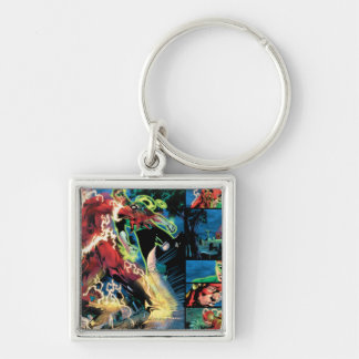 Flash and Green Lantern Panel Silver-Colored Square Key Ring