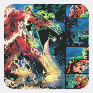 Flash and Green Lantern Panel Square Sticker