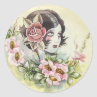 Flash art Girl with Flowers Round Stickers