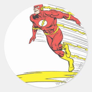 Flash Leaps Left Round Sticker