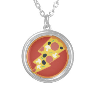Flash Pizza Silver Plated Necklace