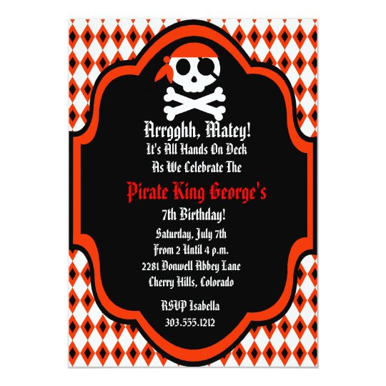 Flashy Pirate Birthday Party Invitation - Red
