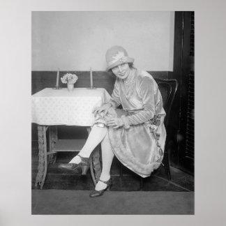 Flask Hidden in Garter, 1926. Vintage Photo Poster
