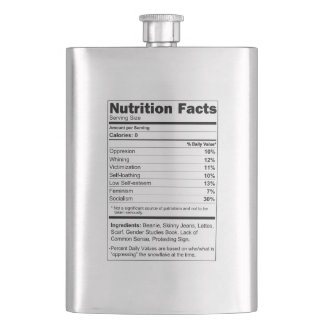 Flask Silver Funny Liberal Supplement Facts