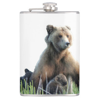Flask with momma grizzly nursing cubs