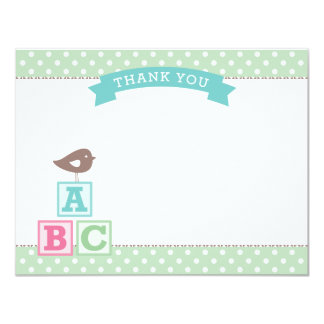 Flat Baby Shower Thank You Card | ABC Blocks