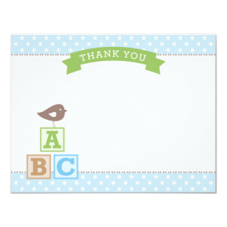 Flat Baby Shower Thank You Card | ABC Blocks 11 Cm X 14 Cm Invitation Card