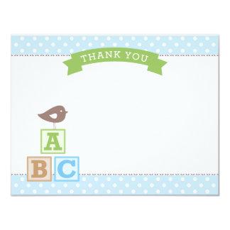 Flat Baby Shower Thank You Card | ABC Blocks 11 Cm X 14 Cm Invitation Card