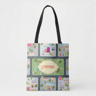 Flat Cityscape Map Tote Bag