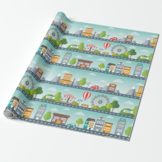 Flat Cityscape Map Wrapping Paper