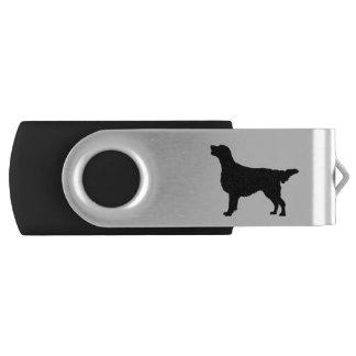 Flat Coated Retreiver Hunting dog Silhouette Swivel USB 2.0 Flash Drive