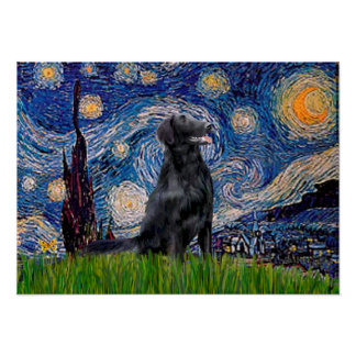 Flat Coated Retriever 1 - Starry Night Poster