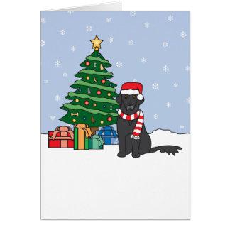 Flat-Coated Retriever and Christmas Tree Greeting Card