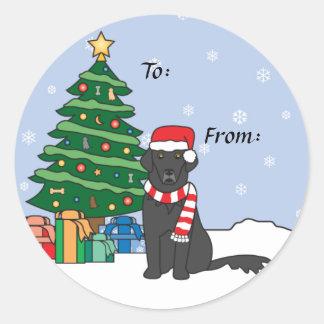 Flat-Coated Retriever and Christmas Tree Round Sticker