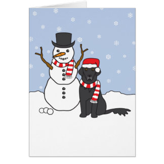 Flat-Coated Retriever and Snowman Greeting Card
