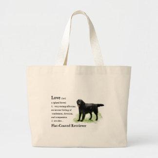 Flat-Coated Retriever Art Print Tote Bags
