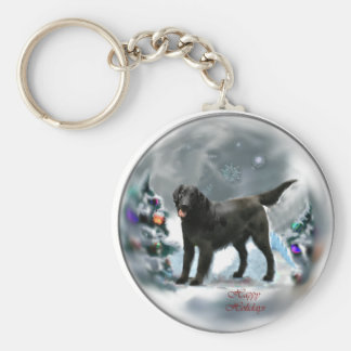 Flat-Coated Retriever Christmas Gifts Basic Round Button Key Ring