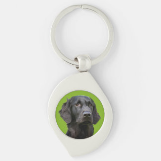 Flat Coated Retriever dog, black beautiful photo Silver-Colored Swirl Key Ring