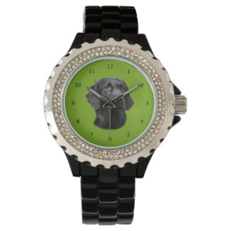 Flat Coated Retriever dog, black beautiful photo Wristwatch