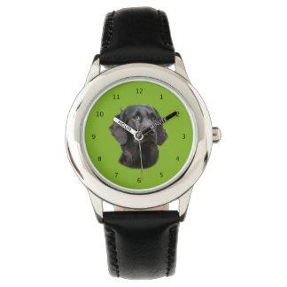 Flat Coated Retriever dog, black beautiful photo Wristwatches