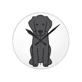 Flat Coated Retriever Dog Cartoon Round Clocks