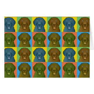 Flat-Coated Retriever Dog Cartoon Pop-Art Card