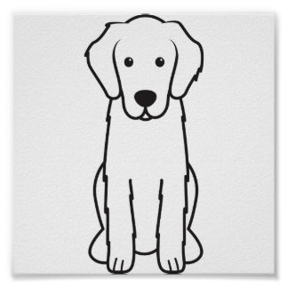 Flat-Coated Retriever Dog Cartoon Posters