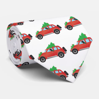 Flat-Coated Retriever Dog Driving Christmas Car Tie