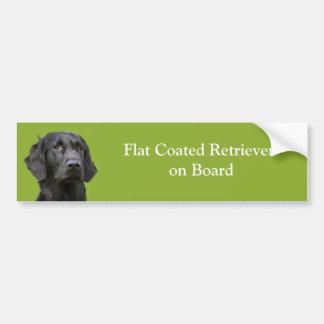 Flat Coated Retriever dog on board black photo Car Bumper Sticker
