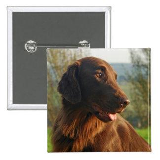Flat Coated Retriever dog photo button pin