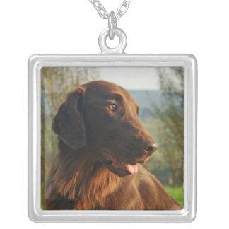 Flat Coated Retriever dog photo pendant, necklace