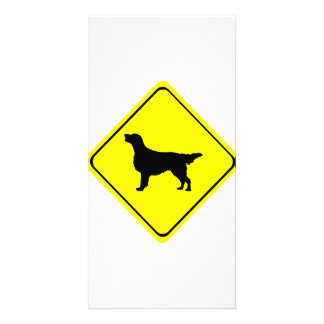 Flat Coated Retriever Dog Silhouette Crossing Sign Customized Photo Card