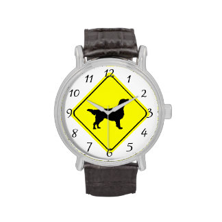 Flat Coated Retriever Dog Silhouette Crossing Sign Wrist Watch