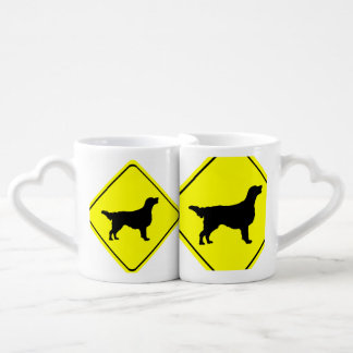 Flat Coated Retriever Dog Silhouette Crossing Sign Couples Mug