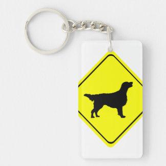 Flat Coated Retriever Dog Silhouette Crossing Sign Single-Sided Rectangular Acrylic Key Ring