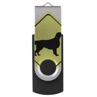 Flat Coated Retriever Dog Silhouette Crossing Sign Swivel USB 2.0 Flash Drive
